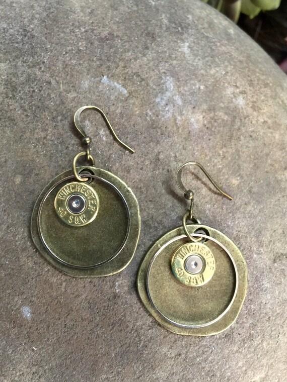 bullet earrings 40 cal rustic bullet earrings rustic