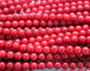 Red Sea Bamboo Coral Round Smooth Beads 6-6.75mm - 16 Inch Strand