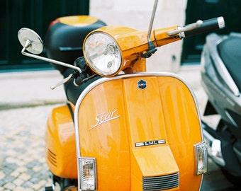 Orange Vespa Style, Orange Star Bike, Retro Style, Vintage Scooter, Film Photo, Travel Photo, Lisbon Print, Orange Decor, Boys Room Decor