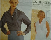 Anne Klein Wrap Blouse Pattern, Collar, Collar Band,Sleeveless/Long Sleeves,Button Front,Cuffs, Vogue American Designer No.2250 Size 8 10 12