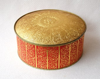 Vintage Guildcraft New York Red and Gold Ornate Collectible Tin Vintage Gold Embossed Cookie Tin Red and Gold Guildcraft Sewing Tin