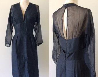 "1960's Silk Wiggle Dress w/ Halter Top Illusion Sleeves & Back Little Black Dress Vintage Size Small Medium 27"" Waist by Maeberry Vintage"