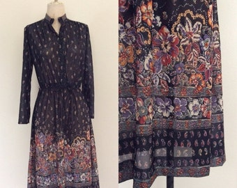 SALE 1970's Sheer Polyester Dress Black Paisley Floral Print Dress Size Medium Large by Maeberry Vintage