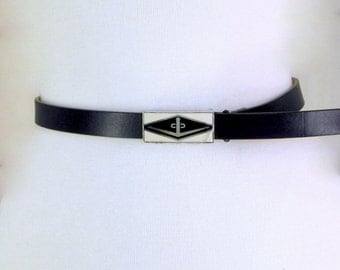 Mondi Sport Skinny Black Leather Belt with Military Buckle Fits Waists Up to 32 Inches Size 40