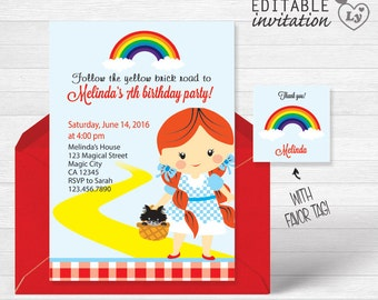 Wizard of Oz INSTANT DOWNLOAD Editable Invitation / Wizard of Oz Invitation  / Wizard of Oz Party / Wizard of Oz Invitation / Wizard of Oz