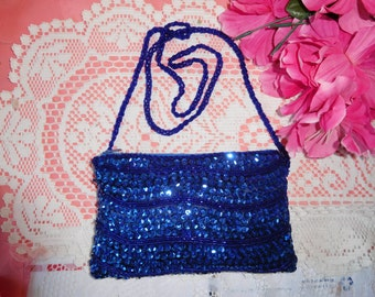 Darling Vintage Blue Sparkling Sequin Bag