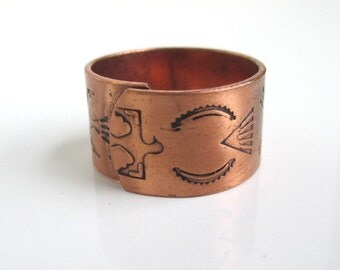 Wide Southwestern Solid Copper Band Ring - Adjustable Size - Thunderbird, Arrows...