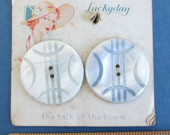 """1 1/2"""" Pearl Shell Buttons - 2 Vintage Carded, Pair"""