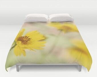 Yellow Flower Duvet - Art Duvet Cover - Art Bedding - Yellow Bedroom Decor - Nature Duvet - Abstract Duvet Cover