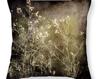 Throw Pillow Cover Wild Darkness Art Photo Pillow Covers photography Gothic nature photograph wild flowers weeds texture tan