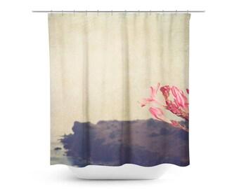 Island Shower Curtain - Hazy Bathroom Decor - Pink and Tan Decor - Minimalist Art - Pink Flower Photo - Bathroom Decor - Floral Home Decor
