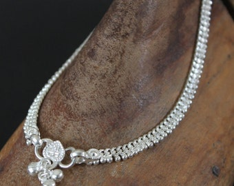 A pair of Indian Gypsy Dancer Anklets | Vintage Style Silver Plated Jingle Anklet | Boho Anklet | Beach wedding foot jewelry