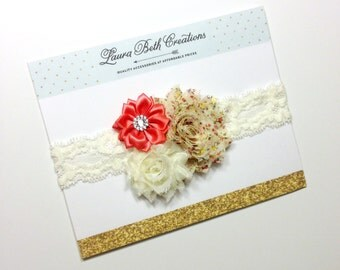 Vintage Headband, Ivory Lace Headband, Infant Headband, Newborn Headband, Children's Headband, Flower Headband, Baby Girl Headband, Coral