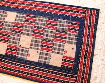 Patriotic Americana Patchwork Quilted Table Runner