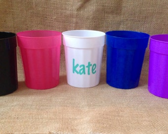 SET of THREE - Personalized Stadium Cups - Assorted Colors