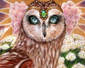 Angelica barn owl angel flowers pop surreal fine art print