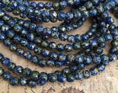 Cobalt Blue 4mm Czech Glass Smooth Round Druk Beads - Silver Sepia Picasso (50) Bohemian Gypsy Hippie Rustic Earthy - Central Coast Charms