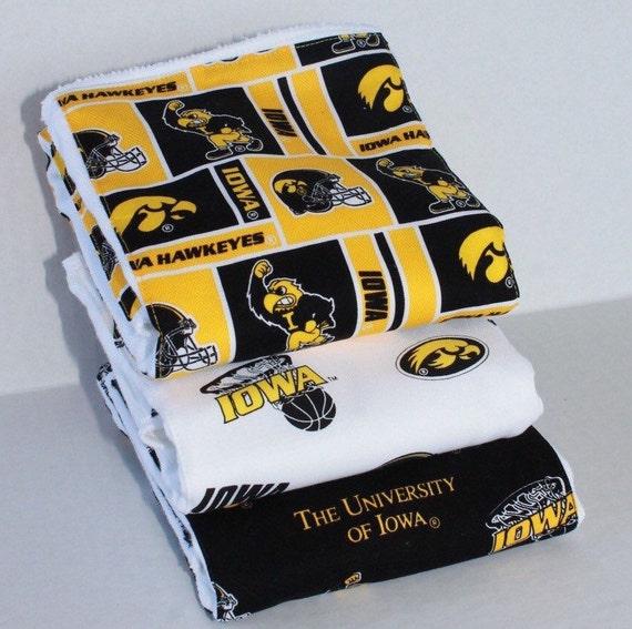 Iowa Hawkeyes Burp Rag 3-pack Cloth Diaper Set