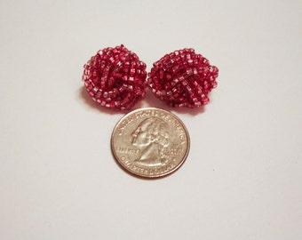 Vintage Beaded Pink Clip Earrings