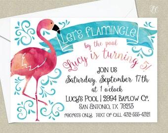 Flamingo Birthday Party Invitation - Pink Flamingo Invitation - Flamingle Birthday Invitation - Flamingo Pool Party Invitation - For Girls