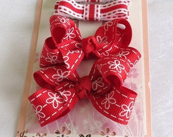 Combination Set Red Boutique Hair bow and Hair clippies
