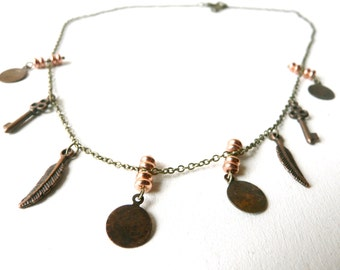 Feather and key necklace with cooper beads ( bobo, gypsy caravan ) 01