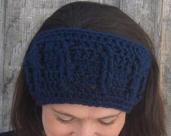 Cabled crochet headband, headwrap, ear warmer - navy blue - crochet accessories Winter Fashion handmade Salutations Crochet