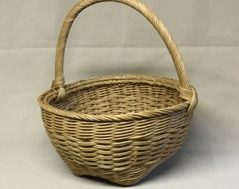 Round Basket, Hand Woven, Wrapped Handle, Woven Spoked Base