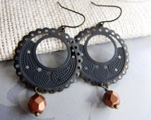 Black Patina Filigree Hoop Earrings,Medium Size, Dangle Drops, Bohemian, Moroccan, Tribal. Everyday Casual, Redpeonycreations