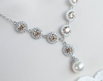 Bridal Necklace, White and Champagne Cubic Zirconia Bridal Necklace, Swarovski Pearl and CZ Bridal Necklace, Bridesmaids Necklace Gift