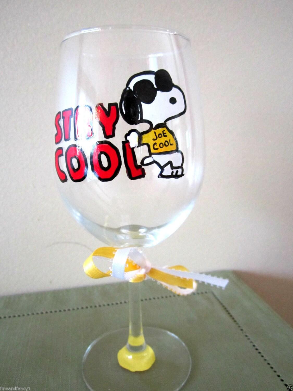 Hand Painted Wine Glass Snoopy Joe Cool Keep Cool 12 Oz