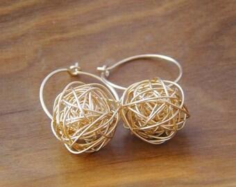 Gold Wire Ball Earrings, Twisted Ball Earrings, 14K Gold Earrings, Ball of Yarn, Tangled Bead Earrings, Love Knot, Tumbleweed