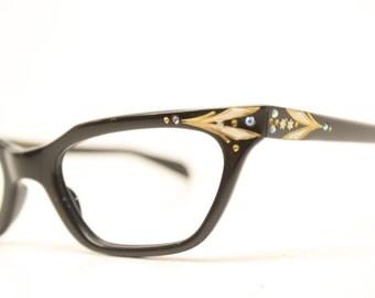 black rhinestone cat eye glasses vintage cateye frames