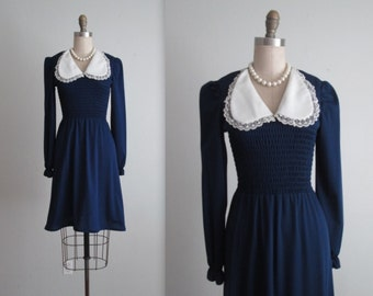 70's Dress // Vintage 1970's Navy Dolly Puff Sleeve Day Dress XS