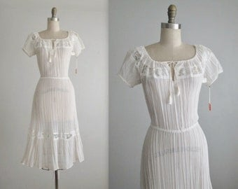 70's Gauze Dress // Vintage 1970's Bohemian White Gauzy Cotton Lace Summer Festival Dress NOS Deadstock Tags XS