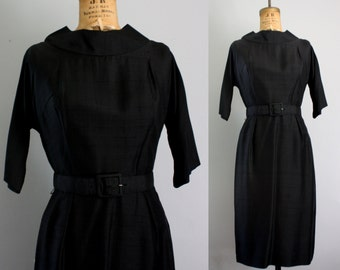 vintage 1950s dress / 50s black dress / party dress