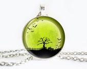 Halloween necklace, Apple Green necklace, Pumpkin pendant, Tree pendant, Bats necklace, Black green necklace Charm, Halloween charm