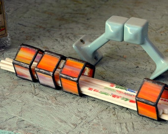 Vintage Stained Glass Napkin Ring Set: Four 4 Handmade Pentagonal Orange & Dinner Table Settings -- Excellent Condition