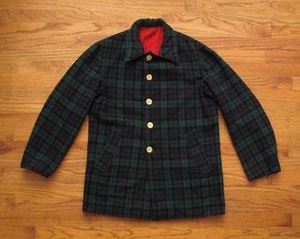 mens vintage Black watch plaid reversible hunting jacket