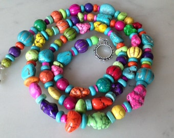 SALE_Long 39 inch beaded necklace, blue turquoise, multi color, chunky, statement, bold, natural stone, red, lime, green, yellow