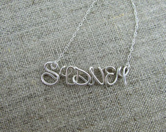 Disney Adventure Name Necklace, Custom Name Necklace Disney Style Font, Sterling Silver Wire Wrap Disney Name, Disney Gifts, Personalized