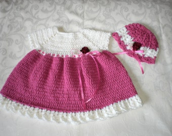 Rosy Newborn to 3 Months Dress and Hat Set
