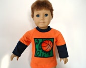 18 inch boy doll shirt layered look orange navy blue basketball applique sports green