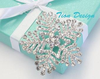 Snowflake Brooch, Wedding Brooch, Bridal Brooch Crystal  BP3077CN-SC with a FREE Gift Box
