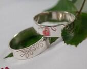 Oak Leaf Wedding Bands: A Set of his and hers Sterling silver Oak leaf textured wedding rings