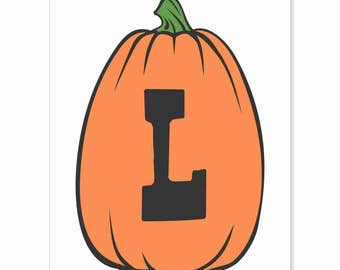 Printable Digital Download DIY - Fall Art Monogram Pumpkin - TALL L - Print frame or cut out for seasonal Halloween decorating orange black