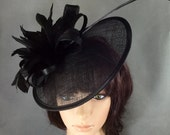 Black Fascinator, Womens Kentucky Derby Hat, Tea Party Hat, Fancy Hat,Church Hat, wedding hat, Funeral Hat