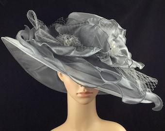 Womens Kentucky Derby Hat,Silver Grey Derby Hat,Dress Hat , Wedding Hat Wide Brim Hat Tea Party Hat Ascot