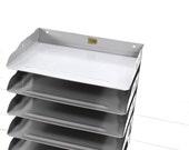 Vintage Flash Filing Divider Shelf- Grey Metal