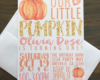 12 pumpkin birthday invitations, printed pumpkin 1st birthday invite, fall gold glitter sparkle invites, first birthday fall gold invites